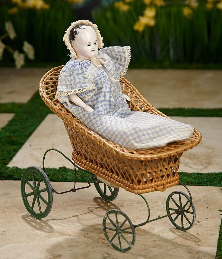 """""""I Only Wanted to Wonder"""" - August 1, 2017: 389 Early French Paper Mache Pull Toy """"Baby in Cradle"""" with Bellows Mechanism"""