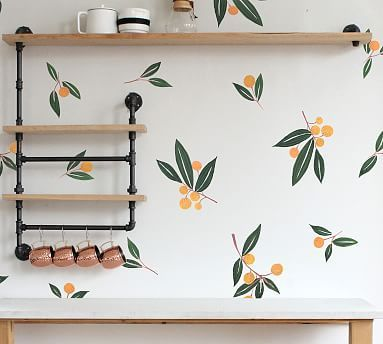 Tangerines In Green Removable Wall Decal Fixer Upper, Pottery Barn, Driven By Decor, Ikea, Flower Wall Decals, Watercolor Walls, Watercolor Leaves, Coral Watercolor, Free Interior Design