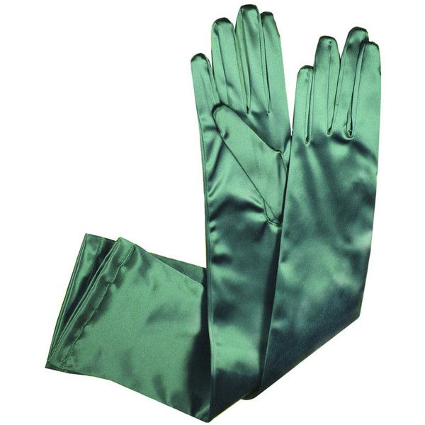 Special Satin Gloves in Green [435] - €45.00 : Varade Gloves, Leather... ($60) ❤ liked on Polyvore