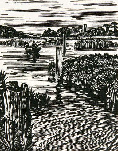 Howard Phipps - The River Alde at Iken. (wood engraving)