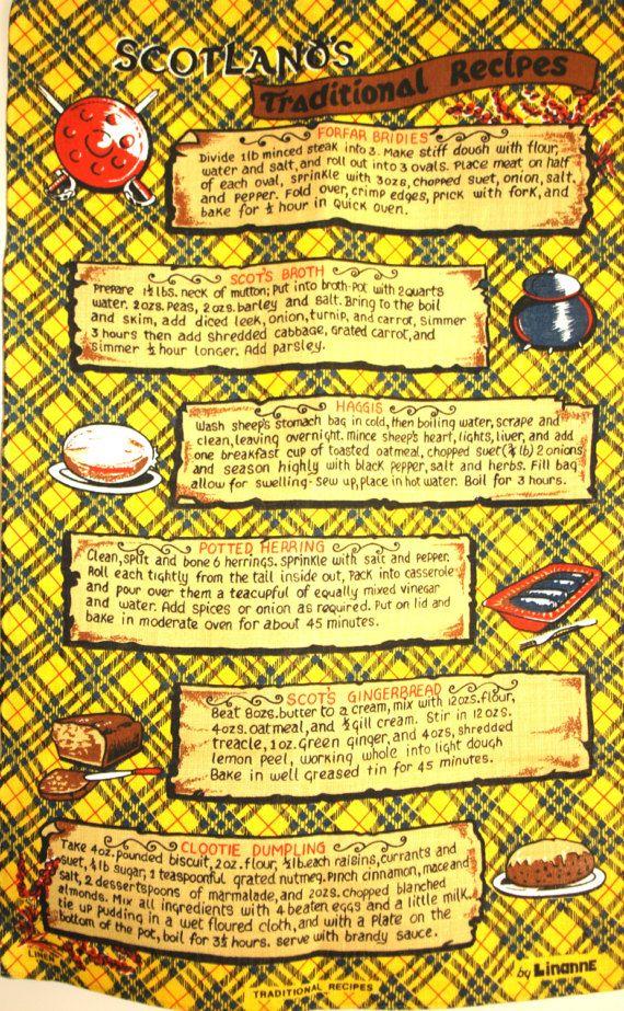 Scotland's Traditional Recipes Tea Towel  Vintage by FunkyKoala