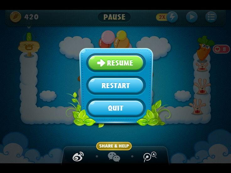 From the game Carrot Fantasy (iOS) Great example of a pause menu. The pause menu is bright and the rest darkened to create a nice contrast. Font is clear and easy to read.