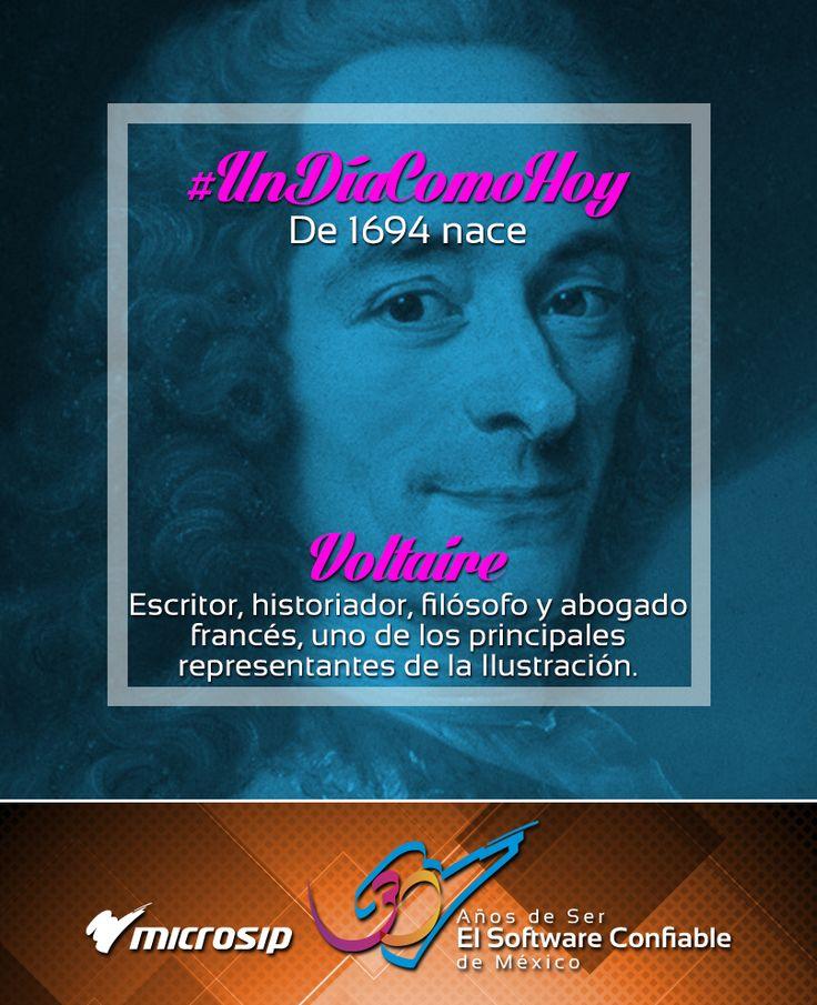 #UnDíaComoHoy 21 de noviembre pero de 1694 nace Voltaire, escritor, historiador, filósofo y abogado francés, uno de los principales representantes de la Ilustración.
