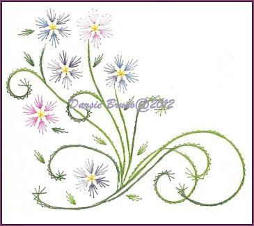 Spring Flowers and Vines Embroidery Pattern for Greeting por Darse