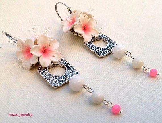 Pink Earrings Sakura Cherry Blossom Flower Earrings Dangle