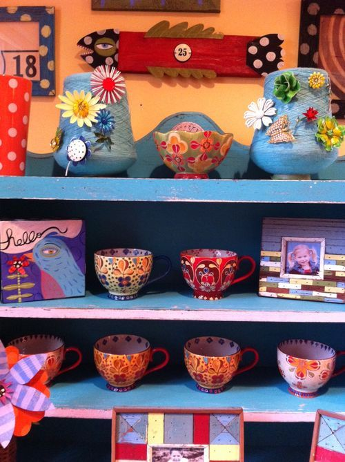 painted dishes, folk art, colorful