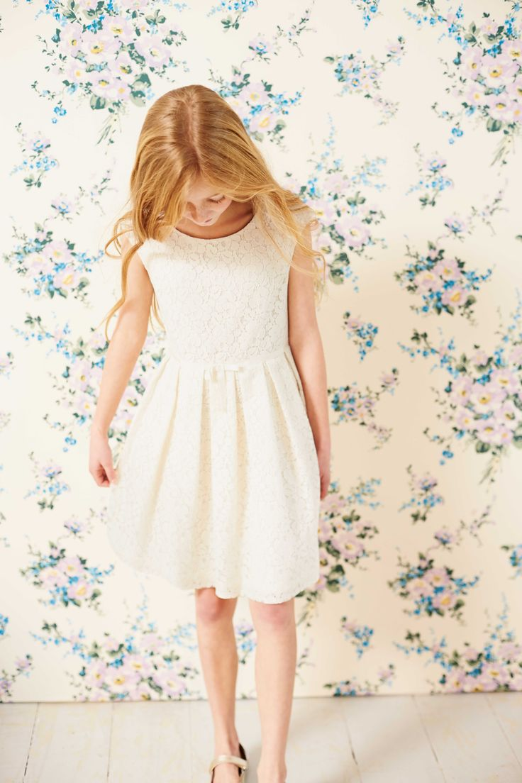 Delicate lace dress from £50 at Mini Boden Special Occasion collection of girlswear spring 2015