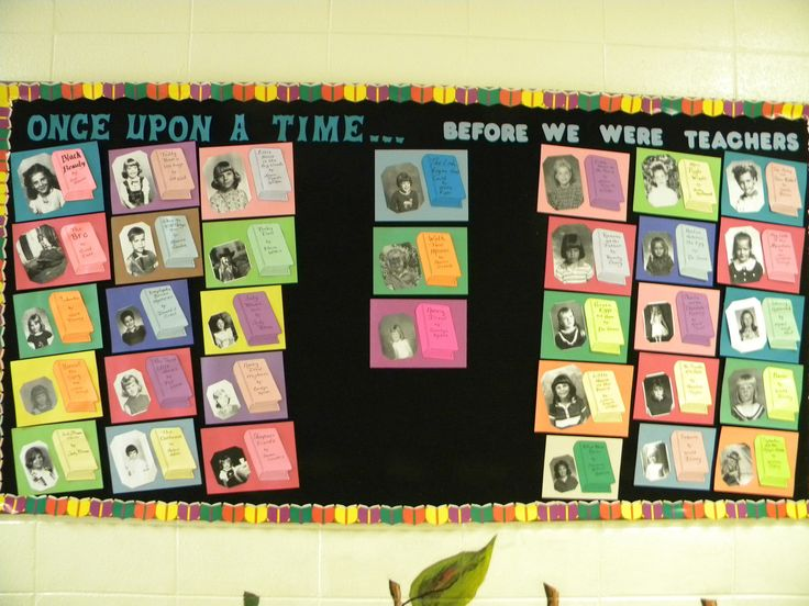 Checkout this great post on Bulletin Board Ideas!- Using Teacher Pictures from when they were little and their favorite book- Can you guess who the teachers are?