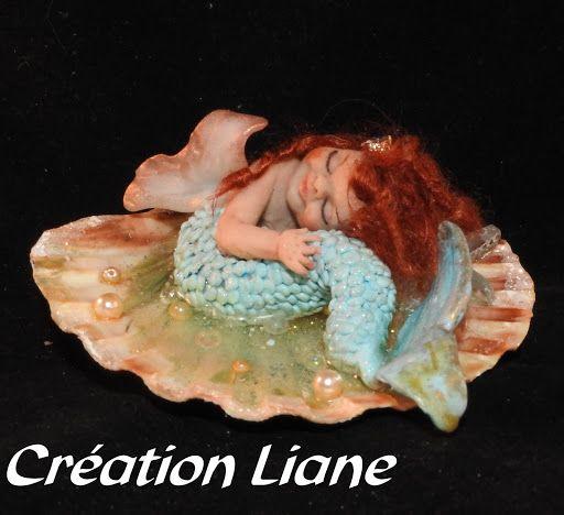 Sirène, mermaid FIMO coulée dans de la résine