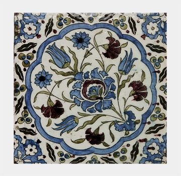 Name: Tile Iznik (12029B) Material: Single pc tile Description: Single pc tile, replica of underglaze painted fritware Iznik tile, Damascus, Syria 16th Century AD