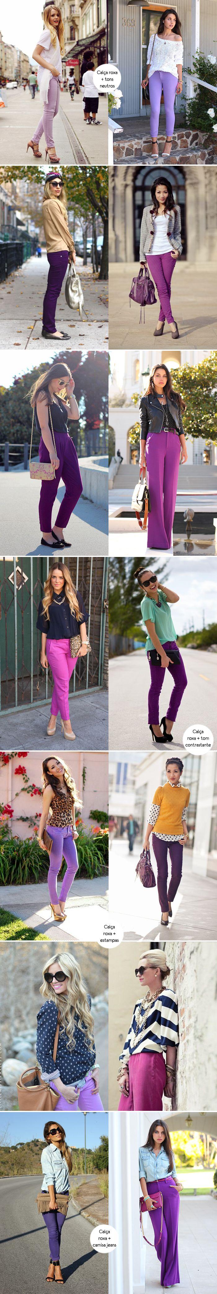 Inspiração como usar look calça roxa