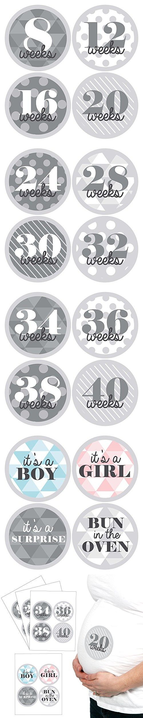 Geometric Gray - Weekly Pregnancy Belly Stickers Set - 16