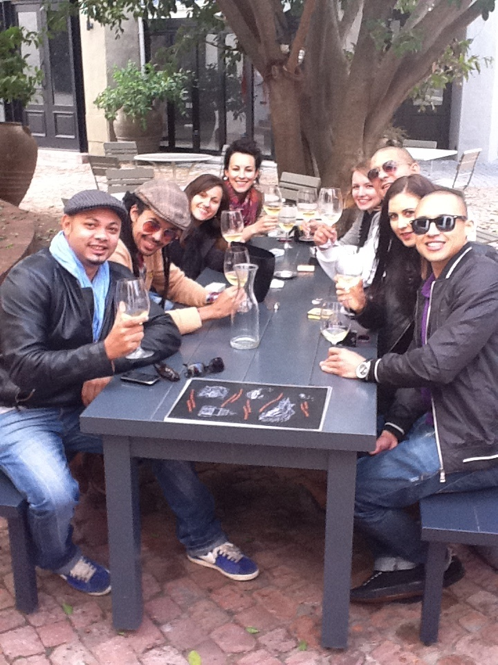 Enjoying a tasting in sunny Franschhoek!