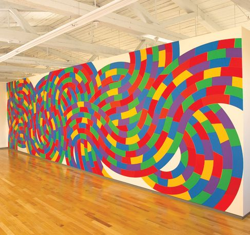 Sol LeWitt: Wall Drawing 1152.  Whirls and twirls. (Met) April 2005. Acrylic paint. LeWitt Collection, Chester, Connecticut.