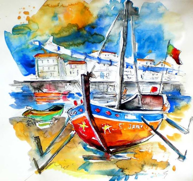Painting, Boat Watercolor.