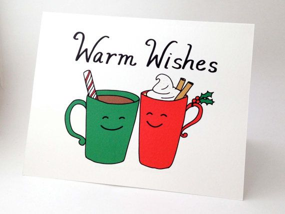 Funny Christmas Card // Punny Happy Holidays Card // Unique Christmas Card // Whimsical Holiday Card // Cute Xmas Card // Warm Wishes Mugs