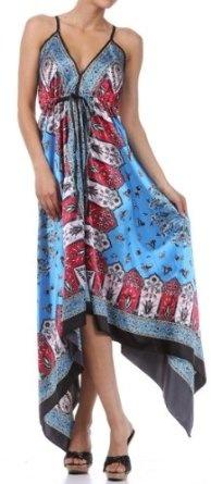 Silk Feel Handkerchief Hem Criss Cross Back Adjustable Maxi / Long Dress. On sale today for $26.99