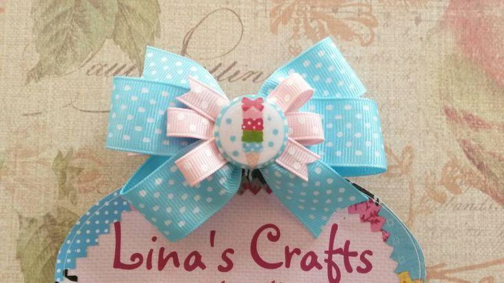 Light Blue Pink Hair Bow, Ice Cream Hair Bow, Easter Hair Bow, Spring Hair Bow, Hair Bows, Baby Hair Bows, Hair Bows for Girls, Bows - pinned by pin4etsy.com