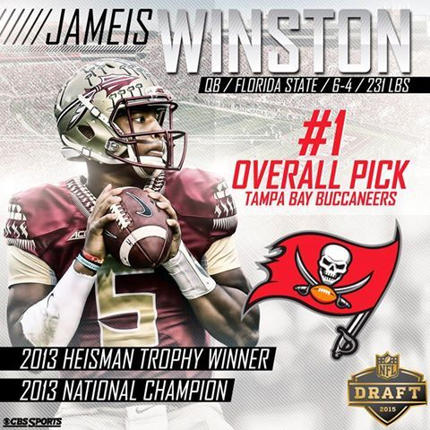 Congrats to Jameis Winston being the first FSU player to be picked #1 in the NFL Draft. 4/30/15