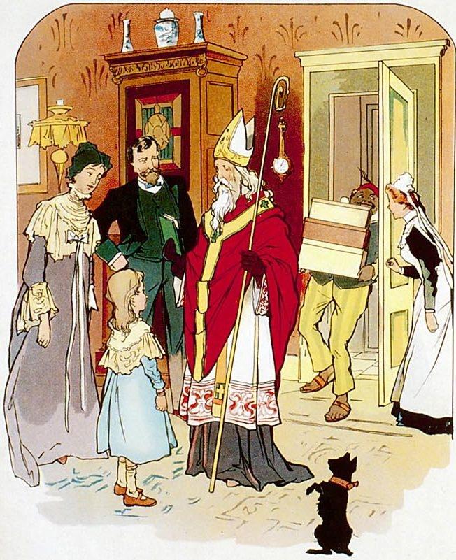 Sint Nicolaas bij een rijk kind      Sint Nicolaas! kom binnen,    'Wat moois brengt u mee?    Graag had ik een boekje!....'    'Ik schenk u er twee.    Het een zal u leren,    Dat godsvrucht en deugd    Meer waard zijn dan schatten,    De bron zijn van vreugd.    Het tweede toont klaar u,    Wat vreugd men geniet,    Als men van zijn' rijkdom    Ook d' armen iets biedt.'