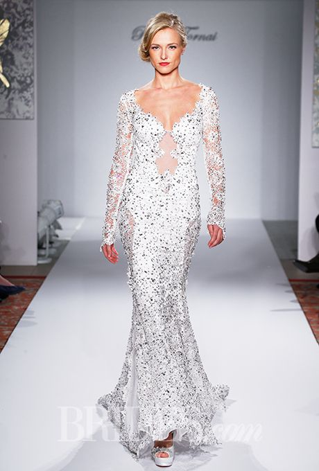 Pnina tornai for kleinfeld fall 2015 illusions for Kleinfeld wedding dresses with sleeves