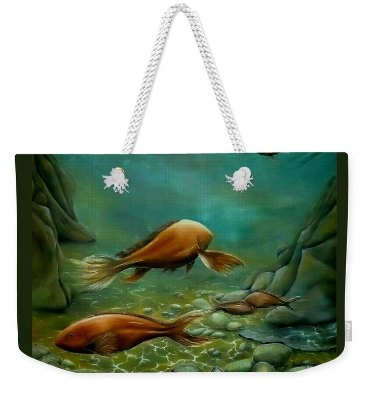 Weekender Tote Bag,  green,cool,beautiful,fancy,unique,trendy,artistic,awesome,fahionable,unusual,accessories,for,sale,design,items,products,gifts,presents,ideas,fish,underwater,scene