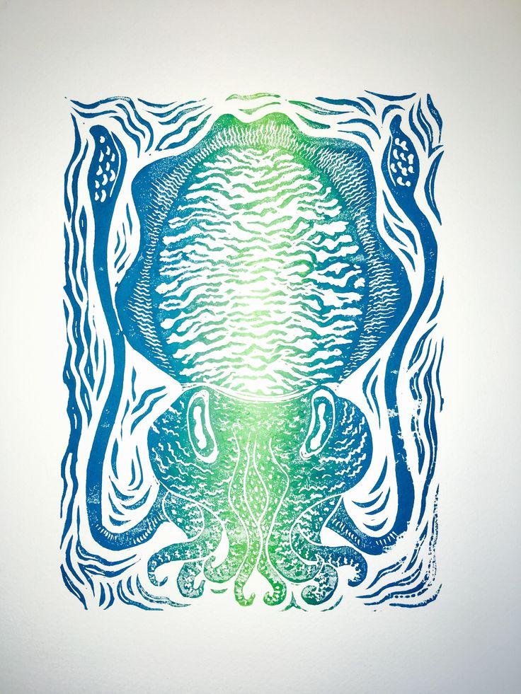 Cuttlefish linocut print - vertical aqua fade. by HuPaLinocuts on Etsy https://www.etsy.com/uk/listing/544378312/cuttlefish-linocut-print-vertical-aqua