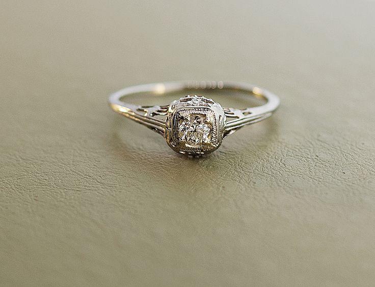 Antique 1920 S 18k White Gold Diamond Filigree Engagement Ring Wedding Rings Vintage Filigree Engagement Ring Antique Engagement Rings