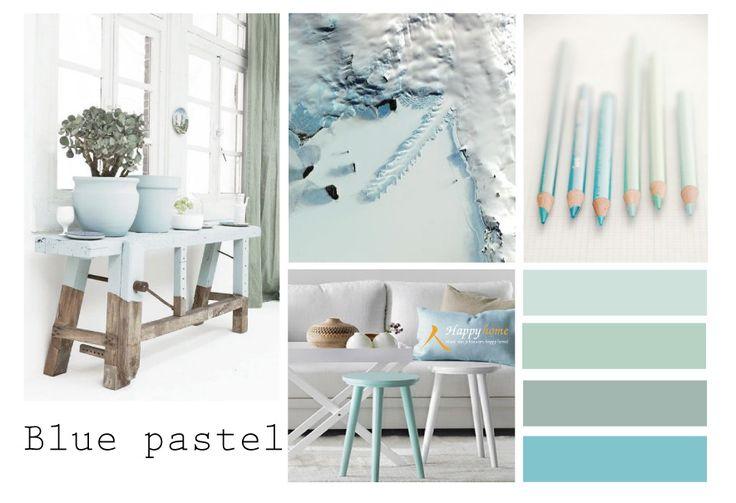Pastel Blue, een mooie zachte kleur blauw die geweldig te combineren is met alle andere pastel tinten. Een zacht en lief interieur is met deze kleur goed te creëren. www.happy-home.nl
