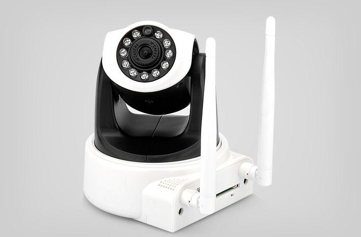 Wireless IP Camera - 1 Megapixel, 1/4 CMOS Sensor, Dual Wi-Fi Antennas, Tilt + Pan, SD Card Slot, Wi-Fi HotSpot