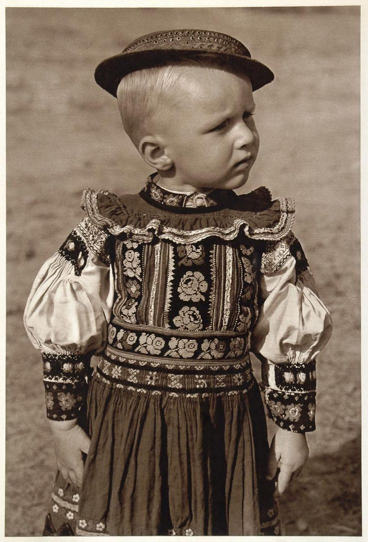 This is a lovely, original 1953 photogravure portrait of a sweet little boy dressed in his national folk costume, from Dobr‡ Niva, Slovakia, in what was the former Czechoslovakia. Photograph by Karol