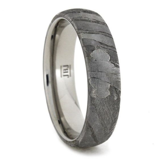 titanium ring with seymchan meteorite overlay meteorite