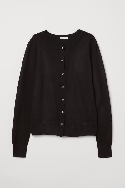 4edd5f1f672f8e Fine-knit Cardigan - Black - Ladies | H&M US 4 | Mode | Black ...