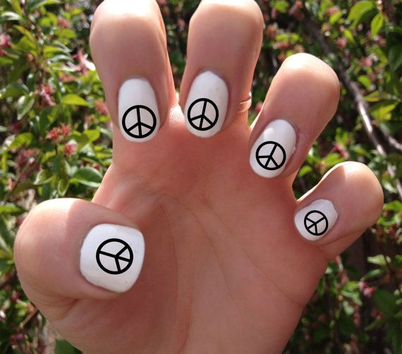 Peace Sign Nail Decals Transfer Nail Stickers // by SokayDesigns, $4.50