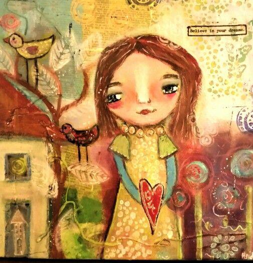 """Follow your dreams "". Acrylic and prismacolor pencils on canvas, 30x30. Part 2"