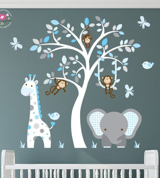 jungle wall stickers, blue and grey nursery decals | baby ecimovic
