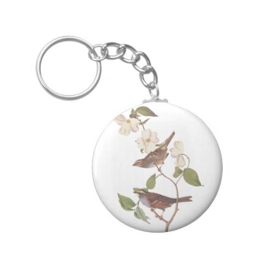 White Throated Sparrow Basic Round Keychain