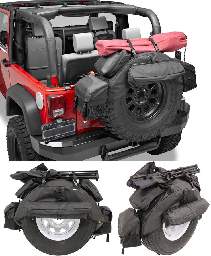 Extra storage space in a Jeep Wrangler? Yes please! Five removable bags that securely attach to the base wrap of the pack - made of Jeep soft top fabric for all-climate durability! An essential to organize gear for those off-roading adventures.