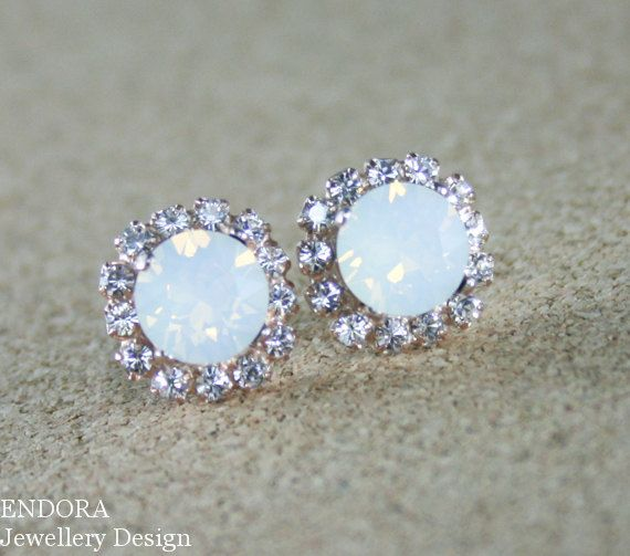 White opal earringsWhite opal crystal by EndoraJewellery on Etsy, $30.00