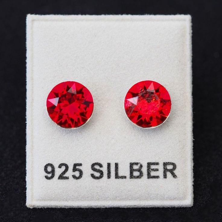 NEU 925 Silber OHRSTECKER 8mm SWAROVSKI STEINE light siam/rot OHRRINGE-£9,99-magoshop1