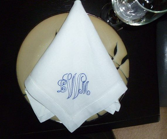 Dinner Napkin Embroidered Personalized by LindasSewFashionable