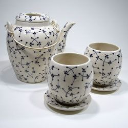DRAGONFLY 5 PIECE CERAMIC TEA SET $33.45 Dragonfly 5 Piece Ceramic Tea Set with Blue Pattern - Aura Gift Box