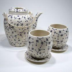 DRAGONFLY 5 PIECE CERAMIC TEA SET $33.45 Dragonfly 5 Piece Ceramic Tea Set with Blue Pattern - Aura Gift Box