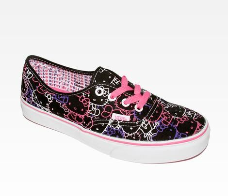 Sanrio and VANS have teamed up to launch a rad new footwear collaboration for Hello Kitty, VANS and sneaker fans of all ages! The Hello Kitty Authentic Lace Up shoe features a supercute canvas print with the signature VANS vulcanized waffle rubber outsole in unisex sizes. These cool low-top kicks are sure to put a skip in your step!