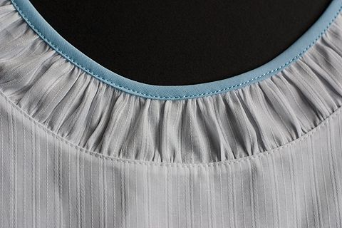 How to add a ruched strip to a neckline !~This was added to a child's garment but this technigue would work for any size.