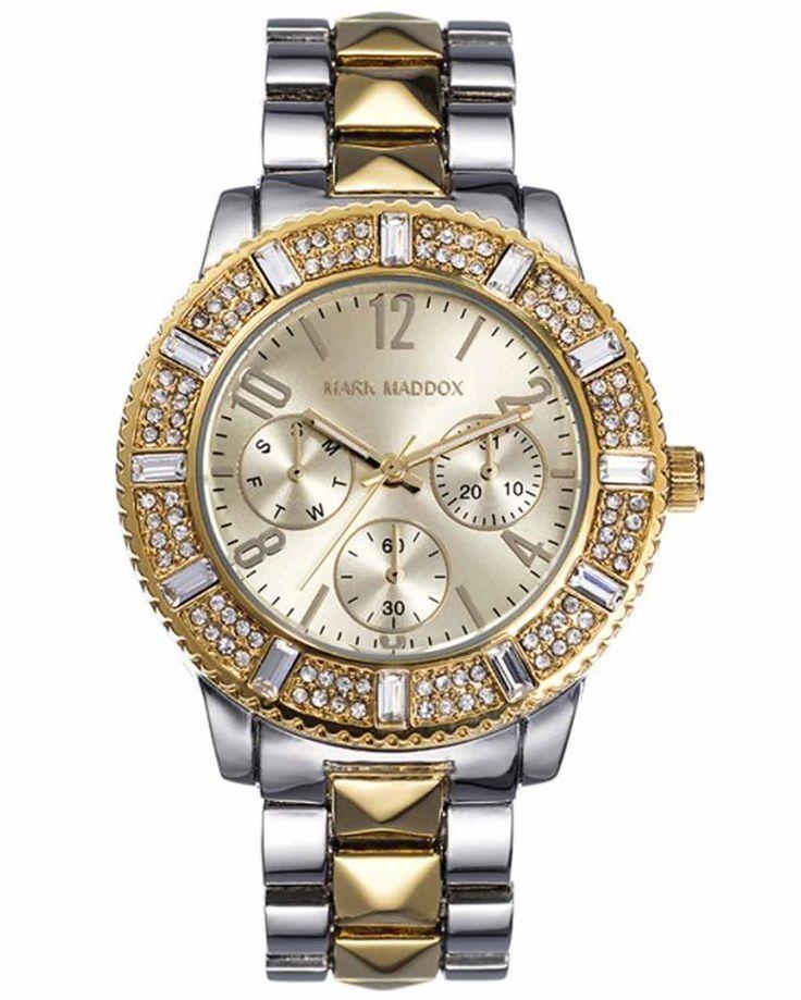 Από τον οίκο MARK MADDOX ένα ρολόι με μεταλλική κάσα και χρυσό καντράν