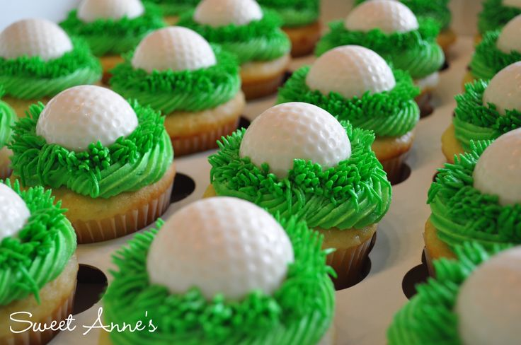 Golf Cupcakes - Vanilla cupcakes with white chocolate golf balls