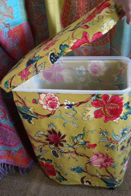 Brilliant! Fabric covered dog-food-bin! <3                                                                                                                                                                                 More