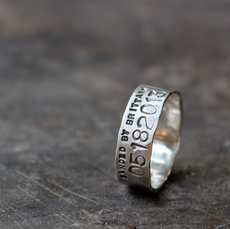 "A 7mm version of my popular rustic duck band wedding ring - this one is just over 1/4"" (7mm) and has the same realistic feel as the other designs. It is personalized with your wedding date in a serial number format, and the phrase ""BANDED BY ______"". This is the ring for you if you love the outdoors but don't want the wider ring for everyday wear. Made from sterling silver, stamped with my maker's mark and .925."