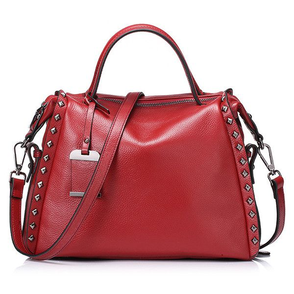 Red Rivets Detailing Leather Plain Tote Bag (435 CZK) ❤ liked on Polyvore featuring bags, handbags, tote bags, leather purses, genuine leather tote bags, leather tote bags, genuine leather tote and red leather tote bag
